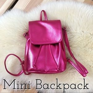 Handbags - Fun Hot Pink Metallic Mini Backpack Faux Leather